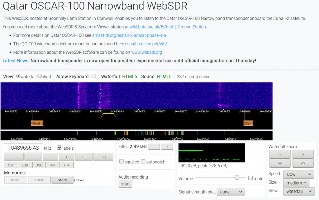 Qatar OSCAR-100 Narrowband WebSDR zum reinhören